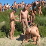 Nude beach gang bang